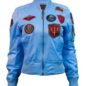 Light Blue Top Gun Flight Bomber Jacket