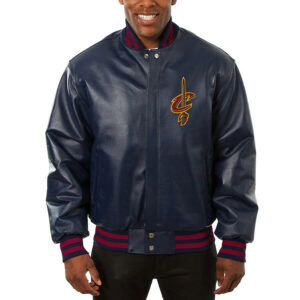 Navy Cleveland Cavaliers Leather Jacket