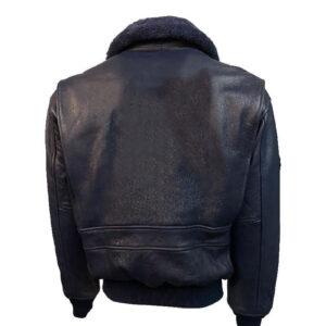 Navy Top Gun Leather Bomber Jacket
