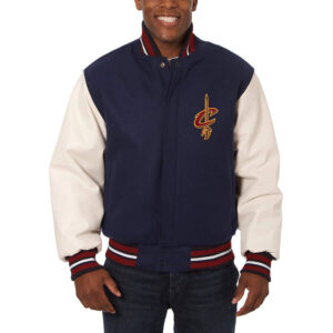 Navy White Cleveland Cavaliers Varsity Jacket