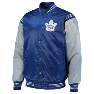 Navy and Gray Toronto Maple Leafs Satin Jacket