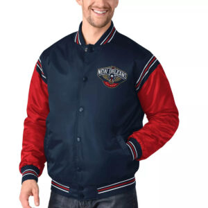 Navy and Red New Orleans Pelicans Satin Jacket