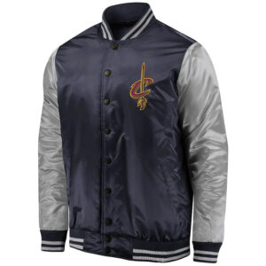 Navy and Silver Cleveland Cavaliers Satin Jacket