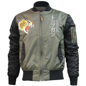 Olive Top Gun Tiger Bomber Jacket