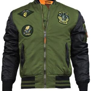 Olive and Black Top Gun Flight Bomber Jacket