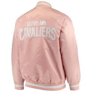 Pink Cleveland Cavaliers Full Snap Satin Jacket