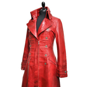 Red Steampunk Leather Victorian Gothic Coat