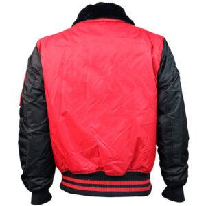 Red Top Gun Bomber Satin Jacket