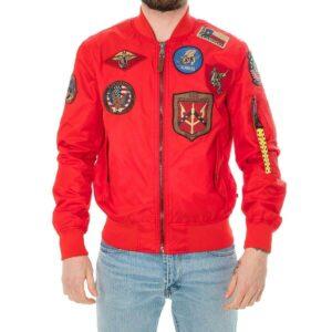 Red Top Gun Flight Bomber Jacket