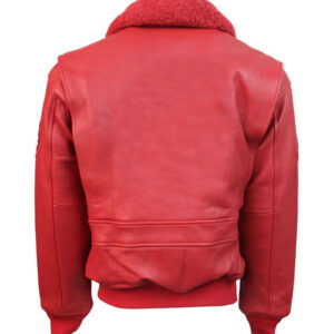 Red Top Gun Leather Bomber Jacket