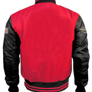 Red and Black Top Gun Flight Bomber Jacket