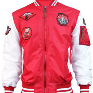 Red and White Top Gun Flight Bomber Jacket