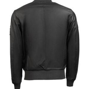 Top Gun Black Leather Bomber Jacket