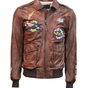 Top Gun Flying Tigers Brown Leather Jacket
