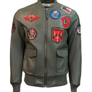 Top Gun Green Leather Bomber Jacket