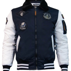 Top Gun Navy and White Bomber Jacket
