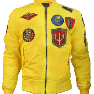Top Gun Yellow Flight Bomber Jacket