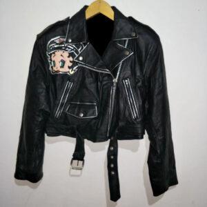 Vintage Betty Boop Black Leather Jacket