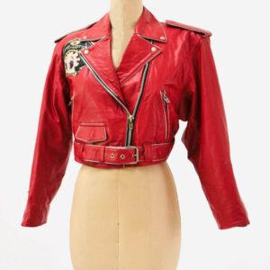 Vintage Betty Boop Red Biker Leather Jacket