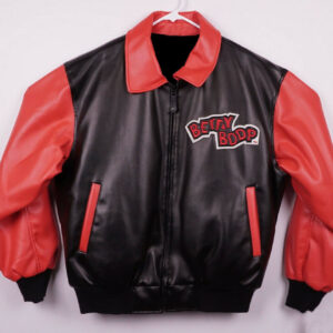 Vintage Black Red Betty Boop Bomber Leather Jacket