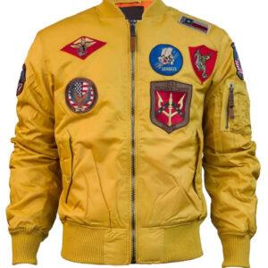 Wheat Top Gun Flight Bomber Jacket