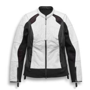 White Black Harley Davidson Motorcycle Leather Jacket