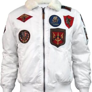 White Tom Cruise Top Gun Bomber Jacket