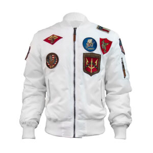 White Top Gun Flight Bomber Jacket
