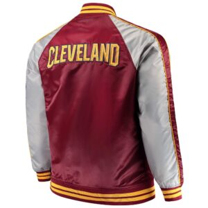 Wine and Grey Cleveland Cavaliers Satin Jacket