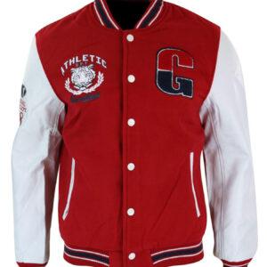 Athletics Red White Varsity Baseball Letterman Jacket