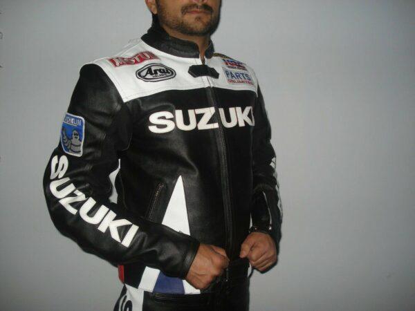 Black Suzuki Motorcycle Leather Racing Jacket