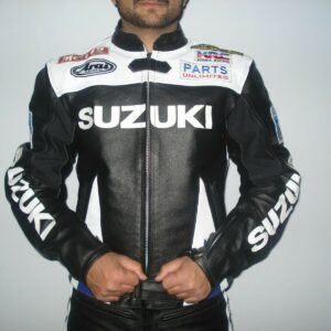 Black Suzuki Motorcycle Leather Racing Jacket