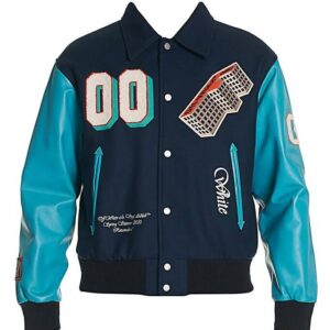 Blue Multi Varsity Baseball Letterman Jacket