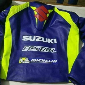 Blue Suzuki Ecstar Motorcycle Leather Racing Jacket