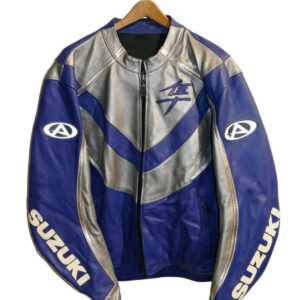Blue Suzuki Hayabusa Motorcycle Leather Jacket