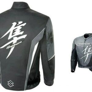 Gray Suzuki Hayabusa Motorcycle Leather Racing Jacket