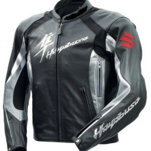 Grey Suzuki Hayabusa Motorcycle Leather Racing Jacket