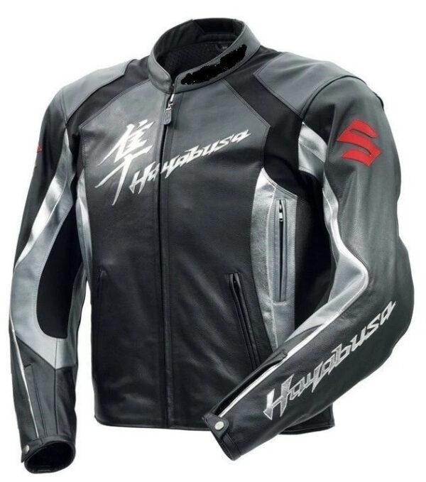 Grey Suzuki Hayabusa Motorcycle Leather Racing Jacket