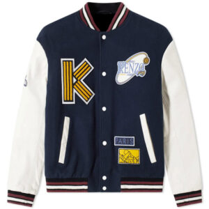 Kenzo Navy Embroidered Wool Blend Varsity Jacket