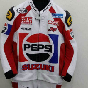 Pepsi Suzuki Motorcycle Racing Leather Jacket