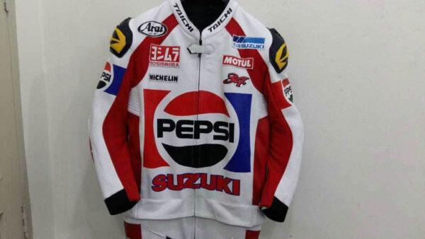 Pepsi Suzuki Motorcycle Racing Leather Jacket
