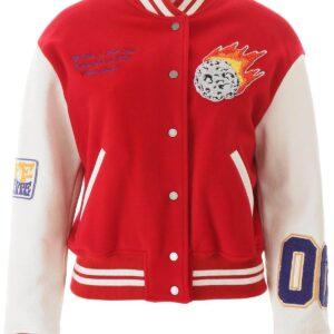 Red Color Block Varsity Women's Jacket