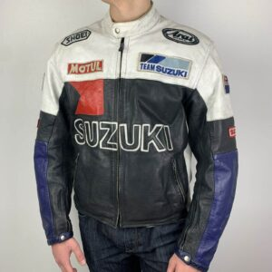 Suzuki Black Blue White Motorcycle Racing Jacket
