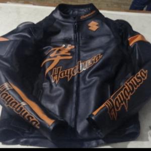 Suzuki Black Orange Hayabusa Motorcycle Racing Jacket