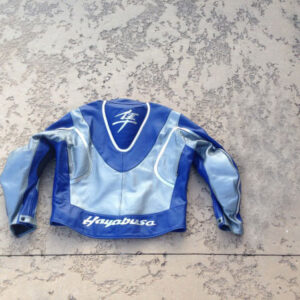 Suzuki Blue Hayabusa Motorcycle Leather Jacket