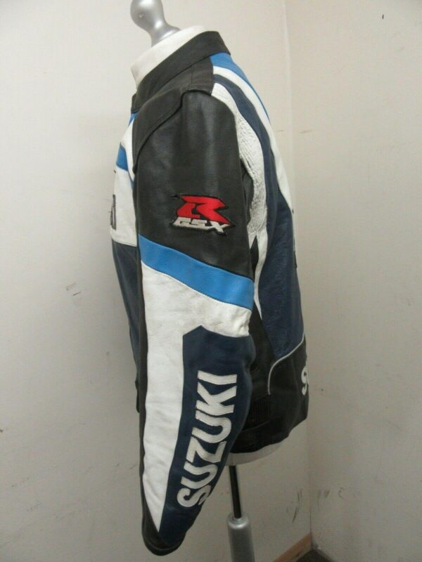 Suzuki Blue Motorcycle Racing Leather Jacket