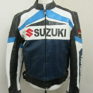 Suzuki Blue Motorcycle Racing Leather Jacket