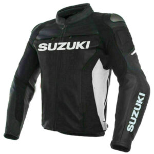 Suzuki GSXR Black Motorcycle Leather Jacket