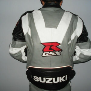 Suzuki GSXR Grey Motorcycle Leather Jacket