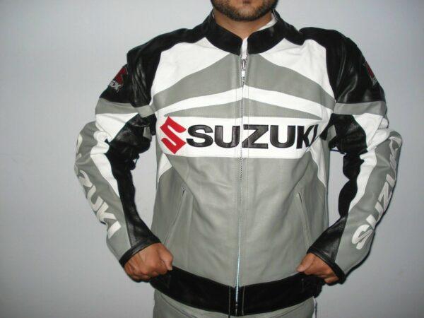 Suzuki GSXR Grey Motorcycle Leather Jacket